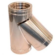 Тройник дымоходный двухстенный нерж/нерж 45° с термоизоляцией