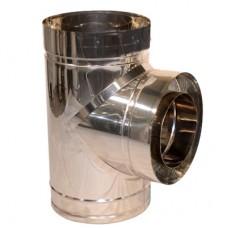 Тройник дымоходный двухстенный нерж/нерж 87° с термоизоляцией