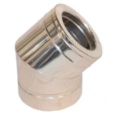 Колено дымоходное двухстенное нерж/нерж 45° с термоизоляцией