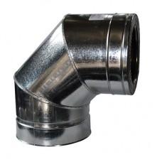 Колено дымоходное двухстенное нерж/оц 90° с термоизоляцией